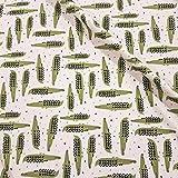 Stoff Baumwolle Jersey Meterware Creme Krokodil Kleiderstoff grün Kroko Aligator