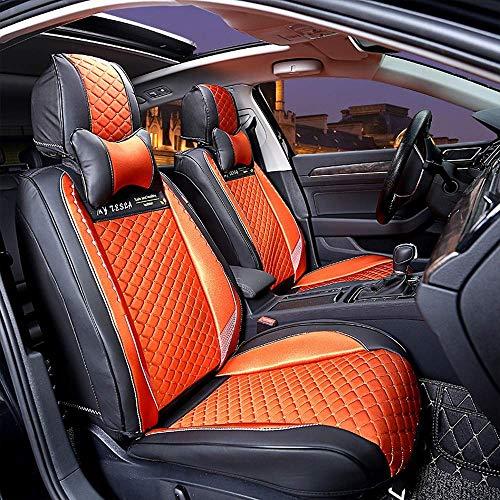 Fyj-carcare Autositzbezüge, vorne und hinten Autoinnenausstattung Universal Styling mit Kopfstützenbezug Schwarz Styling Creme Autositzbezug (Farbe : Orange)