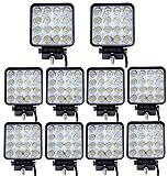 10x 48W cuadrado 4800LM La luz del trabajo de LED Bar inundacion del punto de la viga campo a traves del carro ATV SUV Jeep,autobús vehículo, IP67