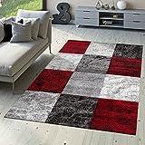 T&T Design Designer Teppich Valencia Modern mit Marmor Optik Kariert Meliert Rot Grau Weiß, Größe:80x150 cm