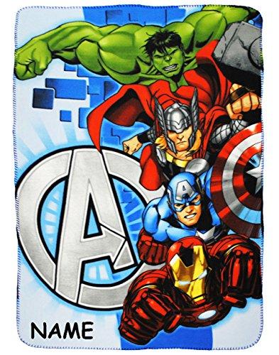 alles-meine.de GmbH The Avengers  - Fleecedecke / Kuscheldecke - incl. Name - 100 cm * 140 cm - Decke aus Fleece - für Jungen - Schmusedecke - Captain America / Iron Man - THO.. Captain Fleece
