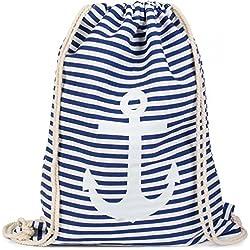 styleBREAKER bolsa de deporte, mochila con diseño marinero con rayas y estampado de ancla, unisex 02012052, Color Azul-blanco/blanco
