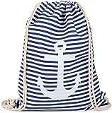 styleBREAKER Turnbeutel Rucksack im maritimen Design mit Streifen und Anker Print, Sportbeutel, Unisex 02012052, Farbe:Blau-Weiß / Weiß
