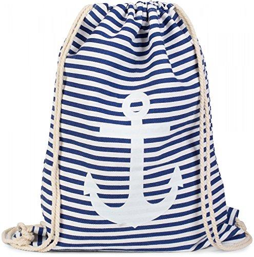styleBREAKER zaino sportivo dal design marinaresco a righe con stampa di ancora, borsa da sport, unisex 02012052, colore:Blu-Bianco/Bianco