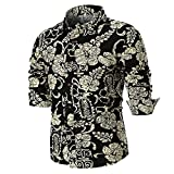 IMJONO Personality Men es Summer Casual Slim Long Sleeve Bedruckte Shirt Top Bluse (EU-54/CN-3XL,A4-Mehrfarbig)