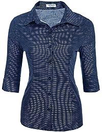 HOTOUCH Damen Shirt Hemd 3 4 Ärmel Casual Bluse Einfarbig Oberteil  Hemdbluse Damenbluse Shirtbluse… 59dd42bc1b