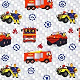 Fabulous Fabrics Singlejersey Feuerwehrmann Sam 1 – grau — Meterware ab 0,5m — Oeko-Tex Standard 100 — zum Nähen von Kinderbekleidung
