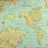 Stoffe Werning Dekostoff Weltkarte hellblau 280 cm breit