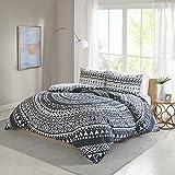Bettwäsche Weiß Anthrazit Geometrisch Kreise - Renforcé 100% Baumwolle - 3-teilig Bettbezug & Kissenbezüge - Ganzjahres & 4-Jahreszeiten - Ideal für Schlafzimmer - Larisa Doppelbett, 200x200+50x75cm