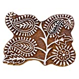 Indian Holzdekordruck-Block aus Holz Textile Brown Paisley-Grenze Stempel