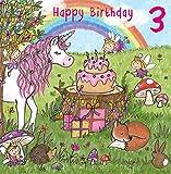 twizler 3. Geburtstag für Mädchen mit Magical Einhorn, Feen, Regenbogen, und Glitzer–Drei Jahre–Alter 3–Kinder Geburtstag–Mädchen Geburtstag Karte