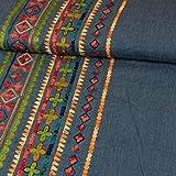 Jeansstoff einseitige Bordüre Ethnomuster rot Modestoffe -