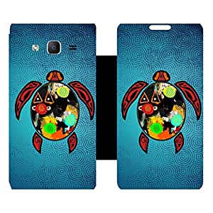 Skintice Designer Flip Cover with Vinyl wrap-around for Samsung Galaxy On5 , Design - single turtle
