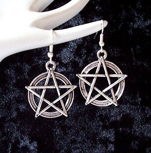 Grande plateado Pentagram Wicca