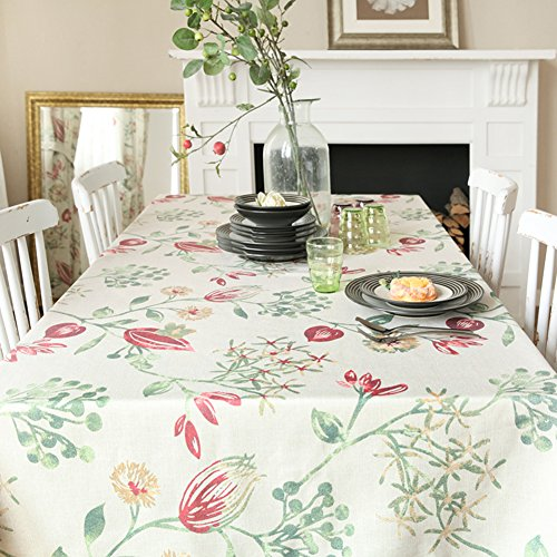 Maoge Amerikanische Print-tischtuch,Home tischdecke,Vintage tischdecke.[Pflanze Blumen] Deluxe tischtuch.lÄndlichen Edge teetisch sauber längliche tischdecke.Verschiedene Stile.-B 90x130cm(35x51inch)