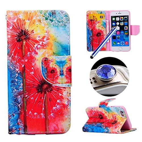 Etche iPhone 6/6S 4.7 pouces Coque,Ultra Slim Mince Flip PU Cuir Housse Etui coque pour iPhone 6/6S 4.7 pouces,Colorful pissenlit pétales de fleurs Arbre Feather Etui de Protection Case Portefeuille C aquarelle pissenlit