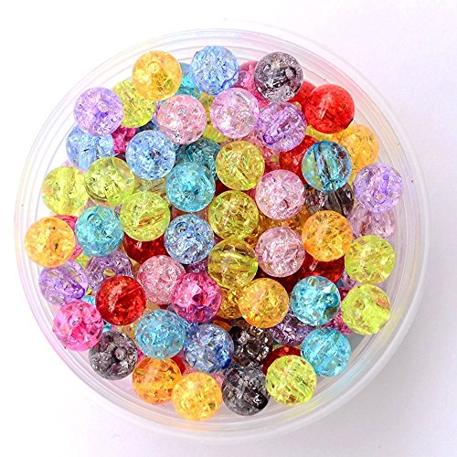 dealglad® 500PCS New Fashion gemischte Farbe Crackle Glas rund Acryl Perlen Ergebnisse 8mm (Ornament Glas Crackle)