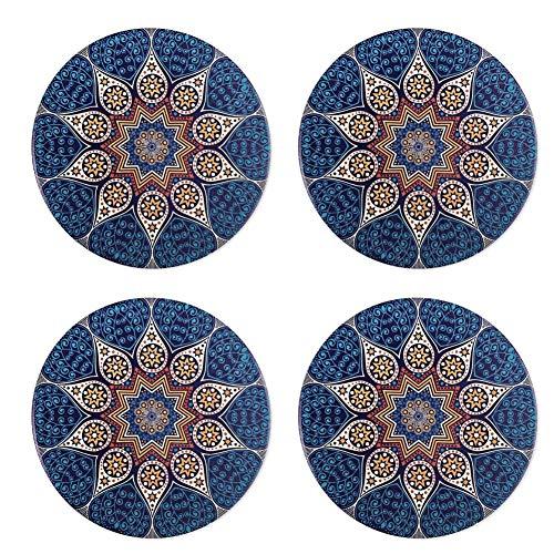 Man9Han1Qxi 4 Stücke Absorbent Keramik Stein Untersetzer Kork Zurück Böhmischen Stil Matte Tasse Glas Pad Blue