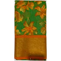 RAJESHWAR FASHION WITH RF Women's Flower Pattu Ikat Cotton Blend Pochampally Printed Saree With Blouse Piece(5 Inch Zari…