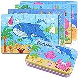 BBLIKE Jigsaw puzzle in legno giocattolo in una scatola per i bambini, confezione da 4 con variazione di difficoltà strumento di apprendimento migliore regalo di compleanno per i ragazzi Ragazze (criaturas marinas)
