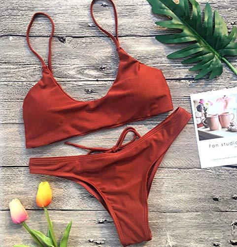 Brown Spaghetti Strap (BikiniNeue Ankunft 4 Farbe Feste Bandage Bikinis Spaghetti Strap Niedrige Taille Sexy Badeanzug Bademode Frauen Biquini-Brown, L)
