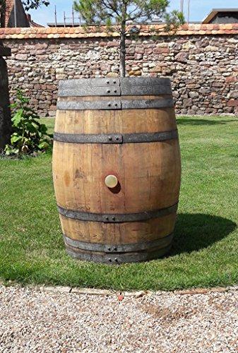 Stehtisch, Weinfass, Regenfass Barrique Fass 225 Liter Holzfass aus Eiche, wetterfest, Dekorativ als Gartentisch oder Wasserbehälter