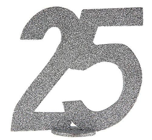 5 Geburtstag Silber Glitzer 1 Stück Party-Deko Palandi® (Zahlen 1 25)