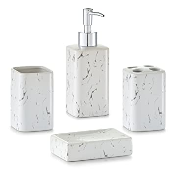 zeller marble look bathroom accessories set white 4 piece amazoncouk kitchen home