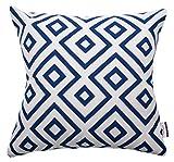 TOM TAILOR 564185 Kissenhülle T-Open Squares, 40 x 40 cm, Baumwollmischgewebe, blau/weiß