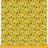 Soimoi Gelb Samt Stoff Damast Blumen- Stoff Meterware 60