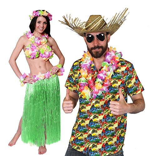 Roll Für Rock Kostüm And Paare - ILOVEFANCYDRESS Hawaii KAPITÄN-Gelbes Hemd=Paare KOSTÜM Verkleidung= 5 GRÖSSEN=BASTROCK 80 cm Lang+ Hula BH+ Lei Sets+Hawaii Hemd + Beachcomber Strohhut +Brille =XLarge + BASTROCK -GRÜN