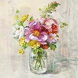 Eurographics Leinwandbild, Summer Treasures II, Vase mit rosa Blumen, Gemälde, rosa, weiß, 55x55x3,5 cm
