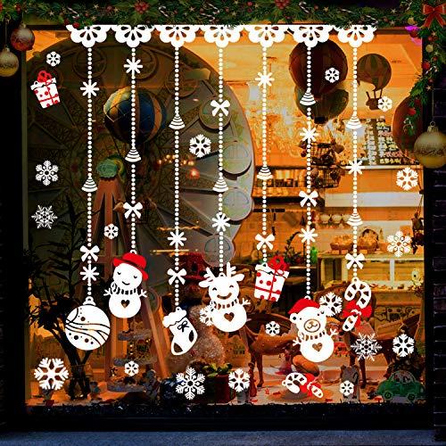 Gifort natale vetrofanie, adesivi per finestre di natale con fiocchi di neve decalcomanie da parete smontabili decorazioni per la casa fai da te per vetrine natale capodanno (8 fogli)
