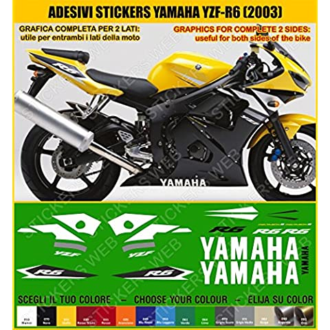 Yamaha YZF R6-Pegatina YZF R6 (2003) sticker kit para modelo 0386 incluye carcasa, color amarillo
