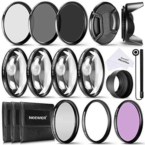 Galleria fotografica Neewer® 58mm Kit di Accessori e Filtri Completo per Obiettivi con Filettatura 58mm: Set di Filtri UV/CPL/FLD + Macro Close-up Set (+1 +2 +4 +10) + Set di Filtri ND (ND2 ND4 ND8) + Altri Accessori