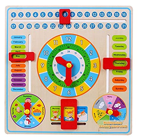Multifunctional Early Learning Educational Wooden Calendar Toy Game Clock Weather Chart Children Kids