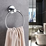 INDISWAN Stainless Steel Chrome Finish Bathroom Towel Napkin Ring (Silver)