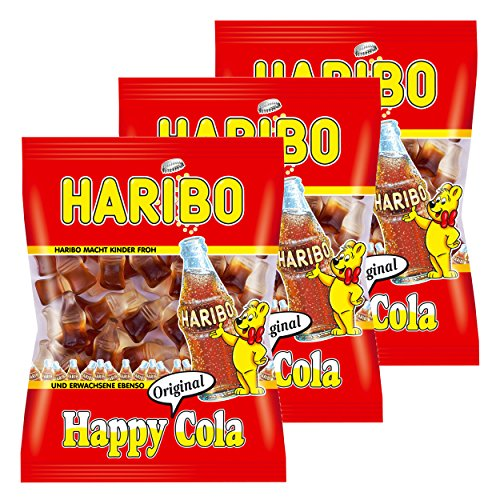 Haribo Happy Cola, 3er Pack, Gummibärchen, Weingummi, Fruchtgummi, Im Beutel, Tüte