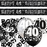 Unique BPWFA-4124 Glitz 40th Birthday Foil Banner Party Decoration Kit, Black