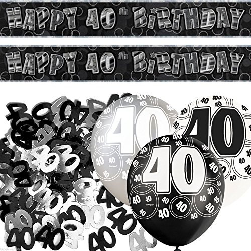 Black Silver Glitz 40th Birthday Banner Party Decoration Pack Kit Set by Happy Birthday (40th Birthday Party Supplies)