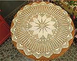 BAHDLES Handarbeit Baumwolle Häkelspitze Blumen Kleine Runde Tischdecken Europäische Nostalgie Hohl Dekorative Matte Beige 55CM