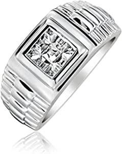 Mens Geometric Square Invisible Cut CZ Watchband Style Engagement Ring Pinky Ring For Men 925 Sterling Silver