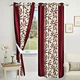 #5: Impeccable Home Kolaveri 2 Piece Eyelet Polyester Door Curtain Set - 7ft, Maroon
