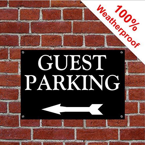 Gäste-Parkschild mit Pfeil links 1989WBK dauerhaft und wetterfest PVC 15cm x 20cm approx 6in x 8in