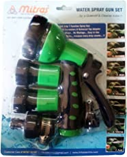 """Mitras Water Spray Gun Set Green 20mm (3/4"""") with Tap Adapter Having Easy to use Butterfly Clamp to Tighten"""