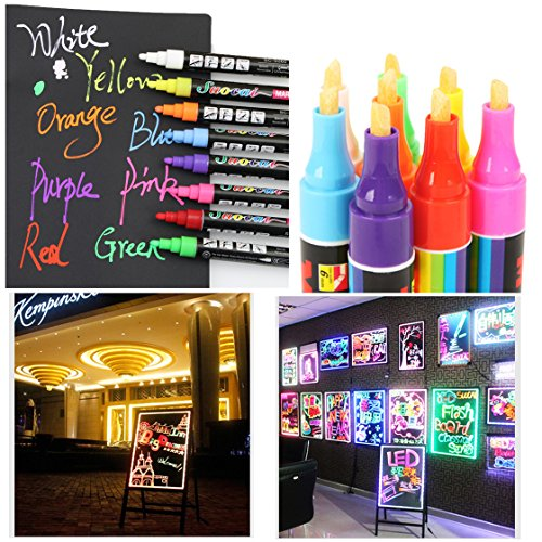 tpocean 8Farben 6mm Liquid Chalk Marker Pens radierbar Big Textmarker für LED schreibtafel aus Glas Fenster Art (Kreide Board Und Bulletin Board)