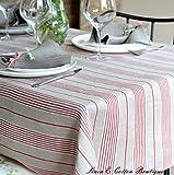 Linen & Cotton Luxus Gestreiften Tischdecke Natur/ Rot - 100% Leinen (150 x 150cm)