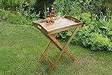 Dreams4Home Stehtablett 'Manaus II', Beistelltisch, Gartentisch, Tisch, Terrassentisch, Glastisch, Rundtisch, (B/L/H) ca.60 x 40 x 72 cm, Garten, in oiled honey