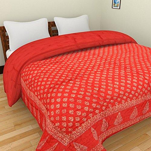 Jaipur Crafts jaipuri razai / rajai double bed cotton rajasthani sanganeri floral print quilt blanket