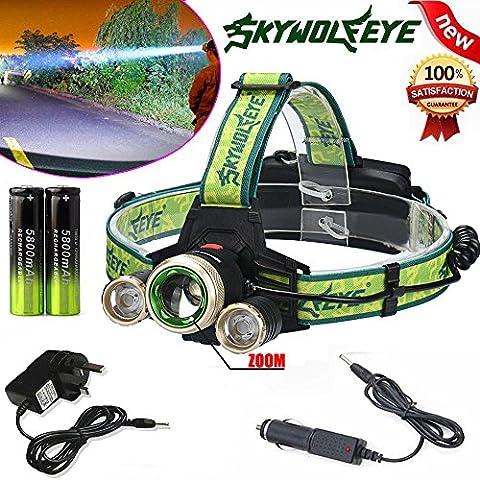 Lampe de vélo, 10principales 6000lumens Ultra Lumineux LED de vélo Lampe frontale Head lampe de poche pour le camping chasse randonnée et activités de plein air